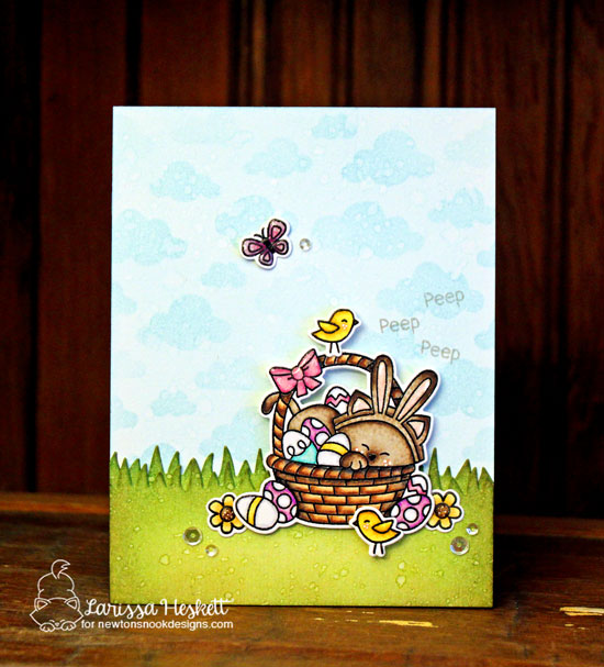 Easter Cat Card by Larissa Heskett | Newton's Easter Basket & Cloudy Sky Stencil by Newton's Nook Designs #newtonsnook #handmade