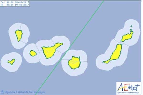 Predicción lluvias y nieve Canarias 18 y  19 marzo