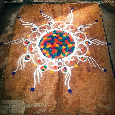 Colorful Multi Circle Rangolis