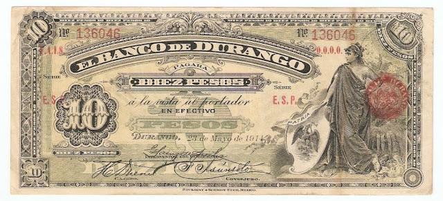 Mexico banknotes paper money 10 Pesos banknote bill Banco de Durango