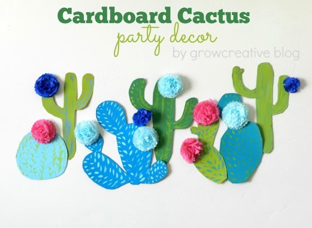 Tutorial: make cactus party decor with cardboard, paint, and tissue paper flowers.  By Grow Creative Blog