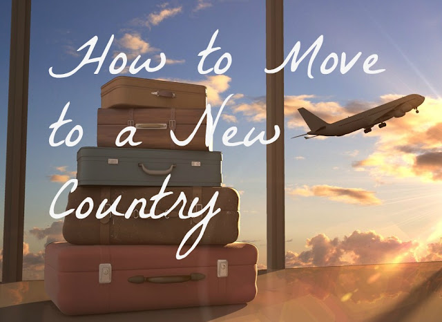 """How to Move to a New Country"" text on background of stacked suitcases and airplane taking off"