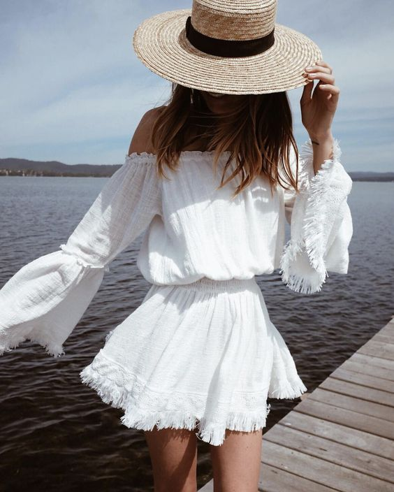 cool outfit idea / white dress and hat