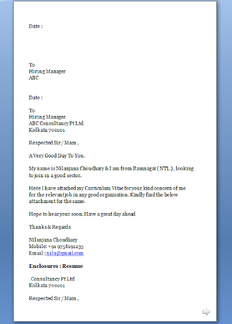 cover letter for any job application