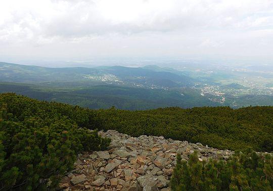 Widok ze szlaku na Karpacz i Kotlinę Jeleniogórską.