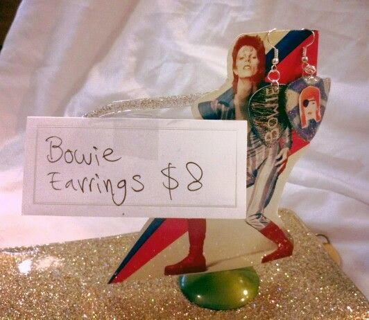 David Bowie Guitar Pick Earrings Display