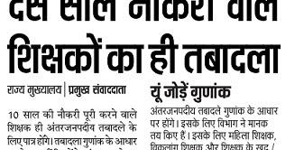 UP Teacher Transfer 2017 News Online Form Name List Hindi