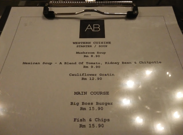 AB Cafe Western Food, AB Cafe Jalan Argyll, Senarai menu AB Cafe,