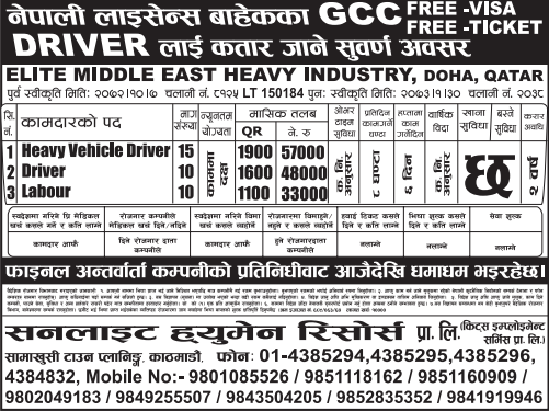 Free Visa, Free Ticket, Free Service Charge Jobs For Nepali In Qatar, Salary -Rs.57,000/