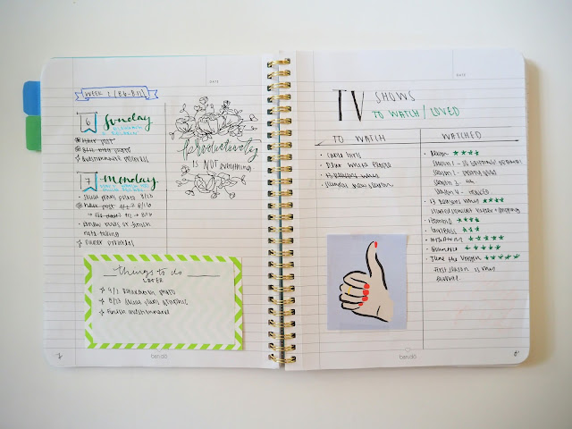 Bullet journal weekly log and TV show list