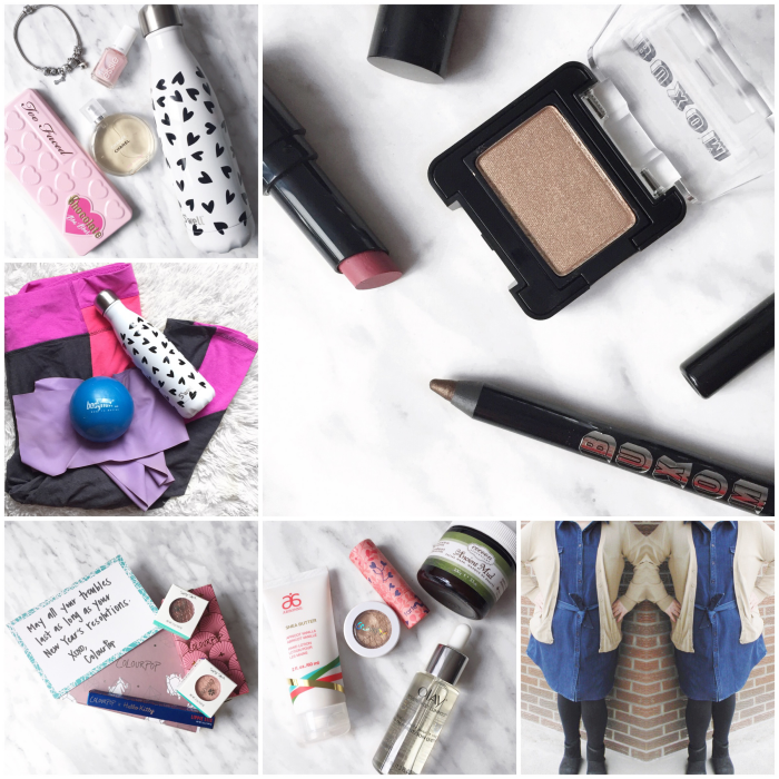 bbloggers, bbloggersca, canadian beauty bloggers, instagram, instamonth, round up, bloggers, lbloggers, valentines day gift guide, buxom, bundle up baby, swell bottle, new years goals, colourpop haul, eshakti, indigo denim dress, plus size