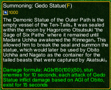 naruto castle defense 6.0 Summon Gedo statue detail