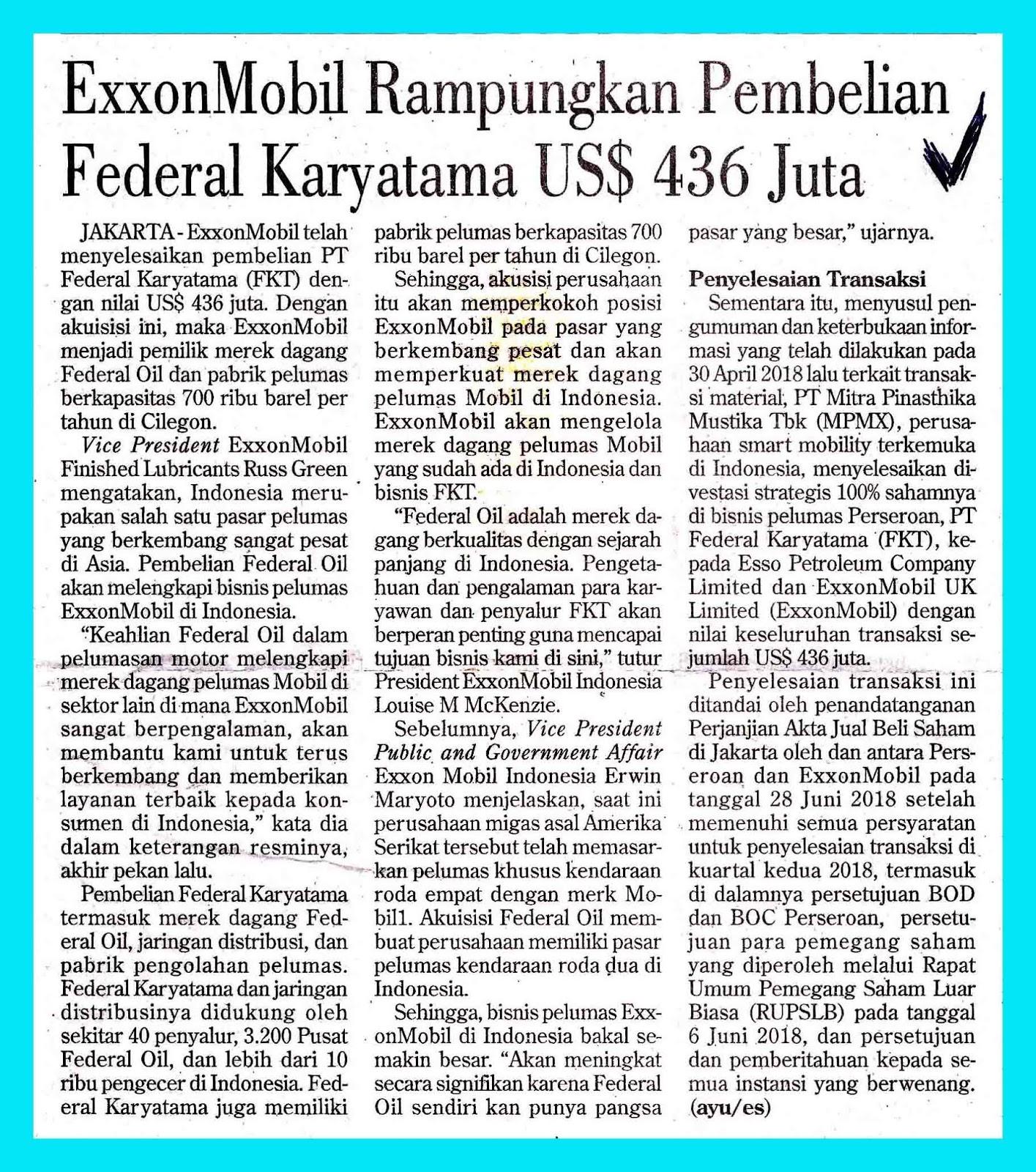 ExxonMobil Completes Purchase of Federal Karyatama US $ 436
