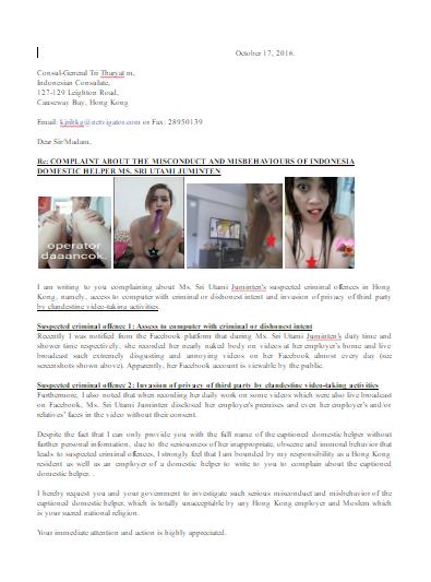 VIDEO, General Consul Hong Kong Mengeluhkan Perilaku TKI Sri Utami