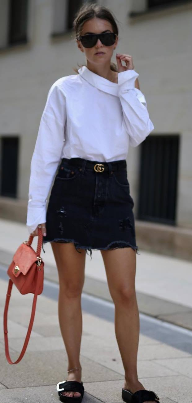 simple outfit idea : white top + bag + skirt