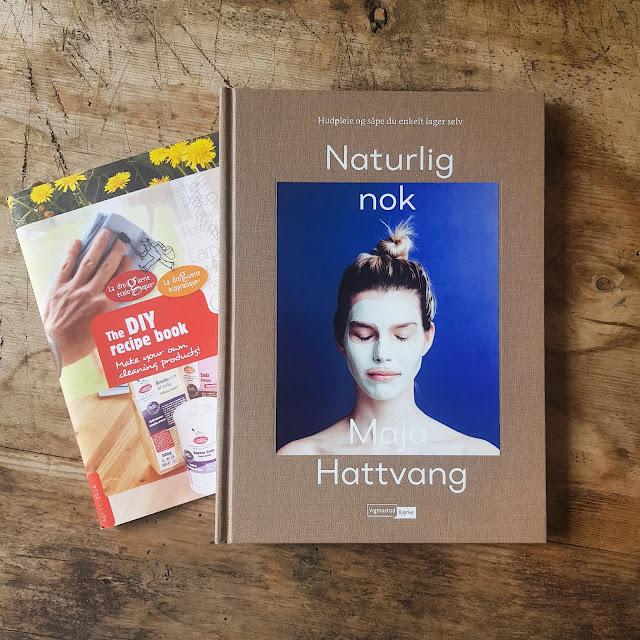 Oppskriftshefte med DIY rengjøringsmidler og Maja Hattvang boka med DIY hudpleieprodukter. Foto: Gjøri
