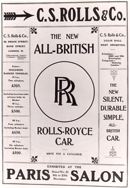 Rolls-Royce debut advertising 1904