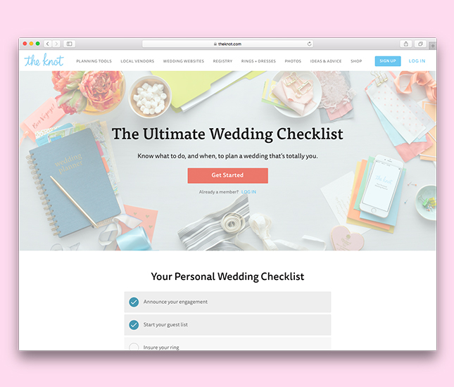 wedding checklist from theknot.com