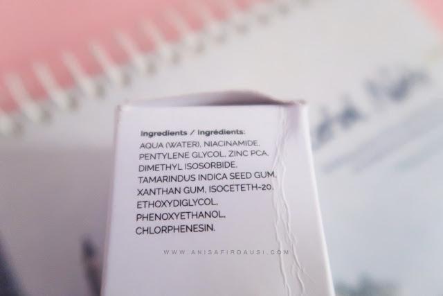 Kandungan / Ingridients The Ordinary Naicinamide 10% + Zinc 1%