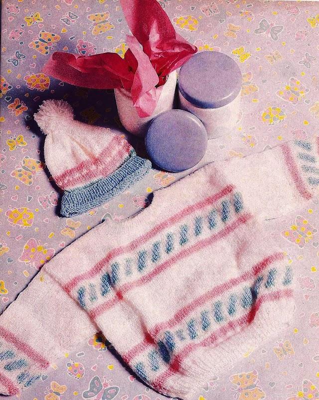 Blusa E Gorro Em Tricô Para Bebês