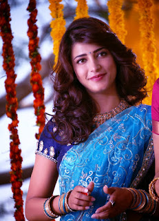 Shruti hassan hot sexy stills in blue saree