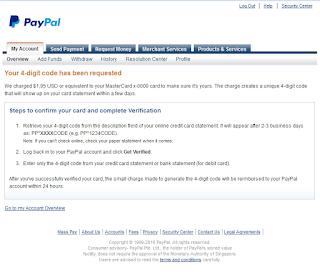 berhasil verifikasi paypal dengan vcc
