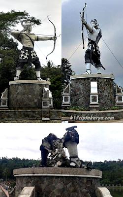 gambar Patung Arjuna di Purwakarta dibakar