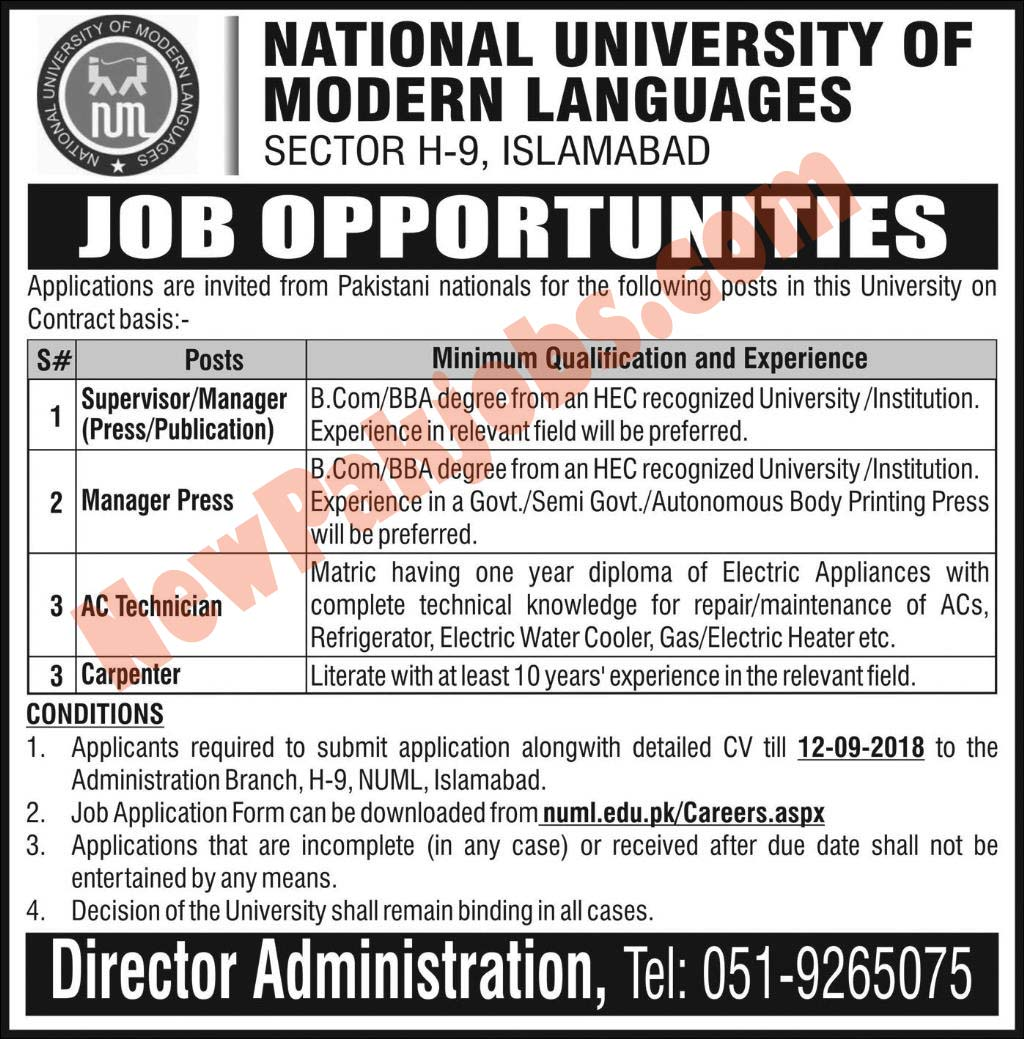 Latest Jobs Vacant in NUML University August 2018