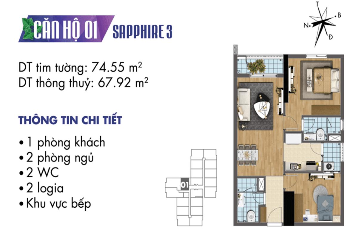 Mặt bằng căn hộ 01 Sapphire 3