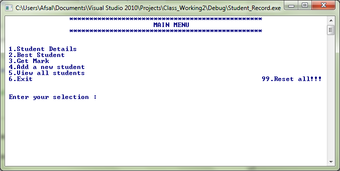 Student Record C++(cpp) Source Code Windows Console Application