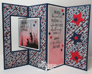 Our Daily Bread Designs Stamp Set: Brothers In Christ, Lever Card, Lever Card Layers, Fence, Sparkling Stars, Squares, Double Stitched Squares, Paper Collection: Stars & Stripes