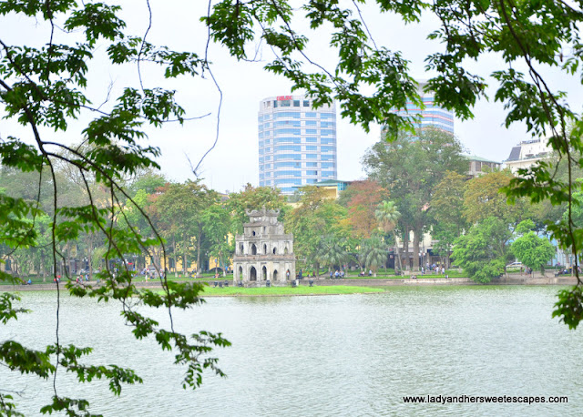 The Turtle Pagoda in the middle of Hoan Kiem Lake