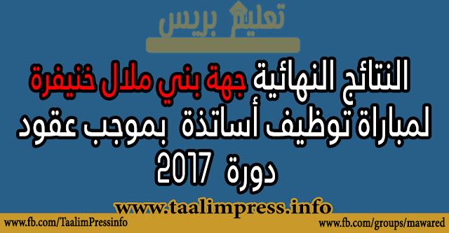 جهة بني ملال خنيفرة: النتائج النهائية الخاصة بمباراة توظيف الأساتذة بموجب عقود - يونيو 2017