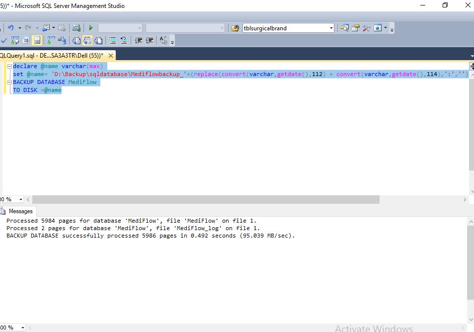 Sql Database Backup Query
