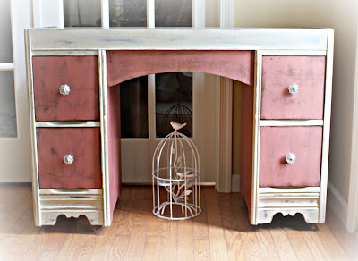Vintage 1940s vanity painted in Scandinavian Pink