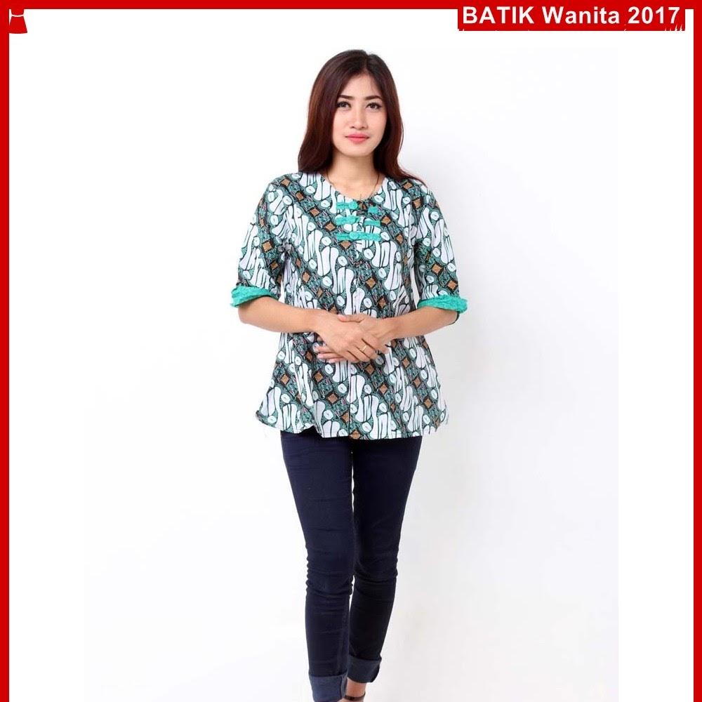 Kemeja Batik Gaul Wanita: A3TBD Kemeja Lionie Batik Top Hijau Modis Bj99A3