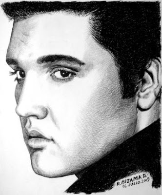 Retrato de Elvis Presley realizado por el artista Roberto Bizama
