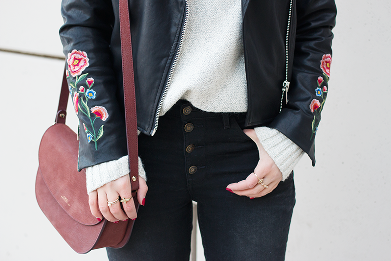 Embroidered Faux Leather