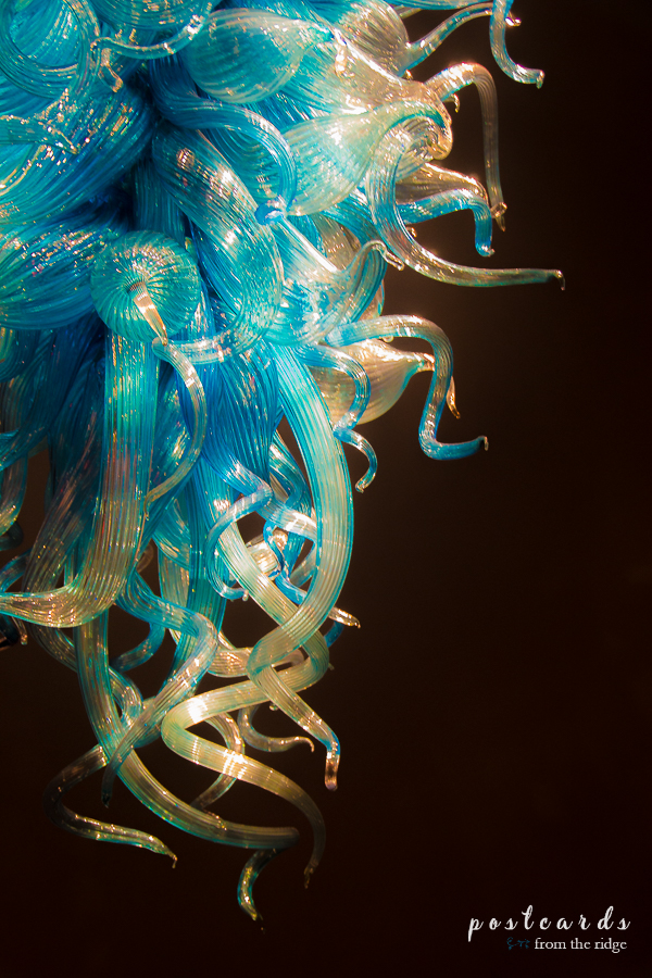 Chihuly blue glass light fixture chandelier