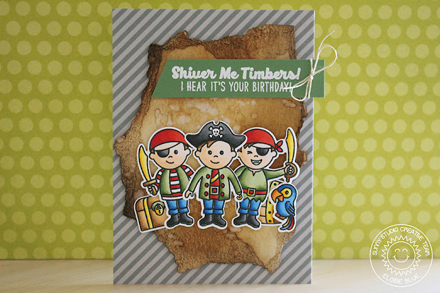 Sunny Studio Stamps: Pirate Pals Boy Themed Birthday Card by Eloise Blue