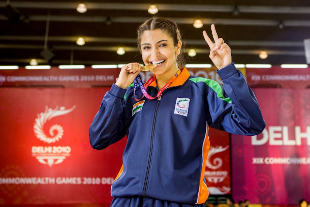 Anushka Sharma as seen in Sultan movie, when awarded medal at Commonwealth Games 2010 Delhi