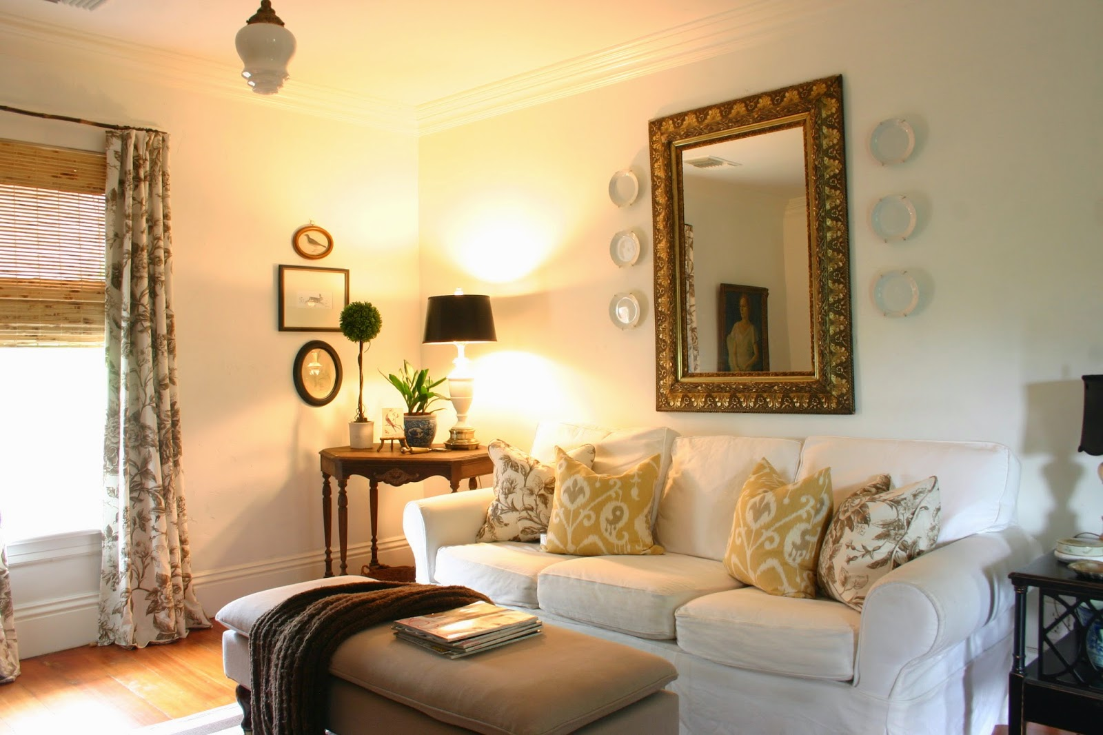 White Slipcovered Sofa Living Room Elegant Formal Furniture A Case For The Gardener S Cottage
