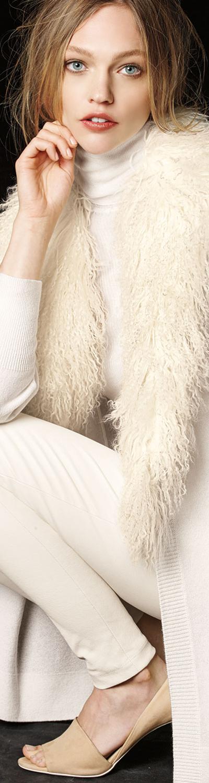 Neiman Marcus Cashmere Collection Mongolian Fur-Collar Cashmere Cardigan