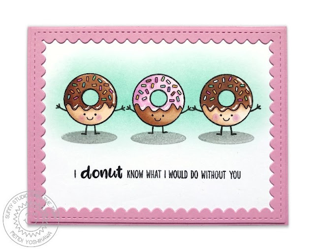 Sunny Studio Stamps: Breakfast Puns Donut Know What I Would Do Without You Card by Mendi Yoshikawa