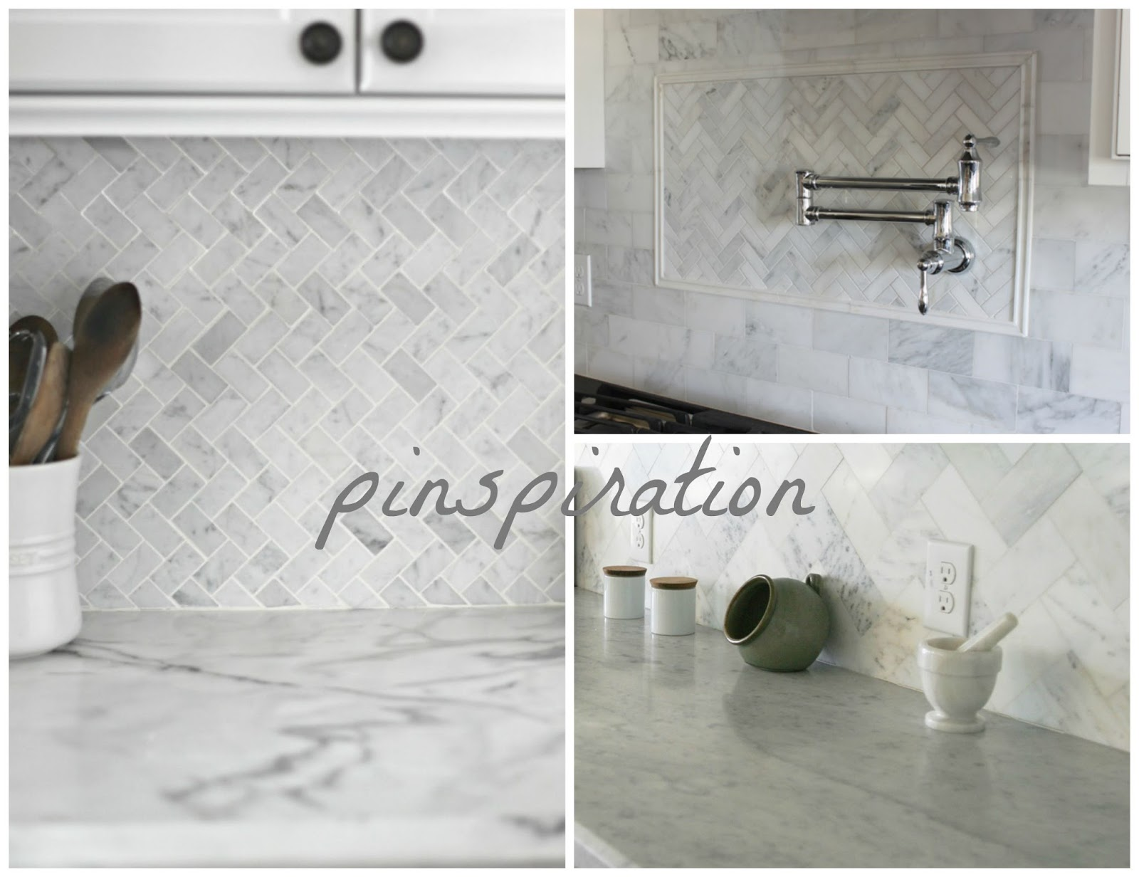 40 Carrara Marble Herringbone Inspired Backsplash
