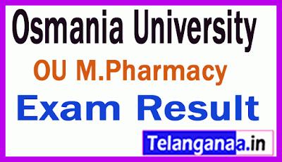 Osmania University M Pharmacy Regular  Supply Exam Results
