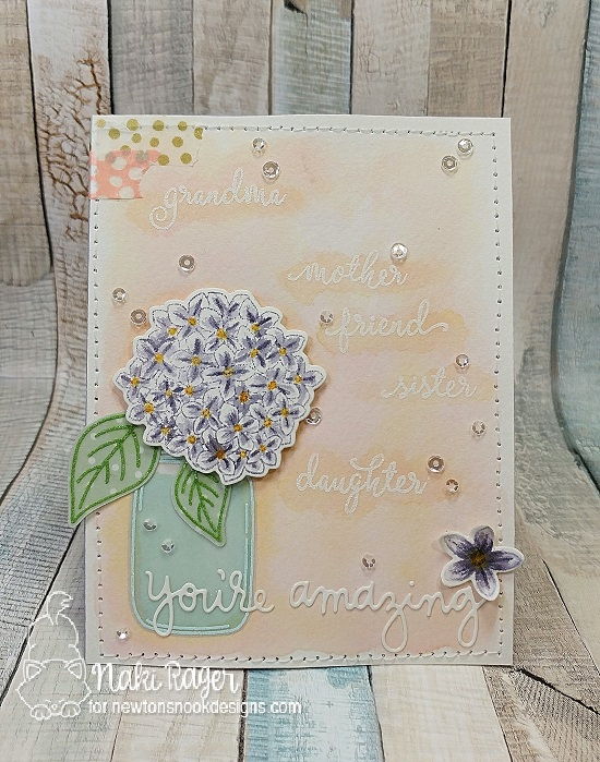 Hydrangea in Jar Card by Naki Rager |  Lovely Blooms Stamp Set by Newton's Nook Designs #newtonsnook