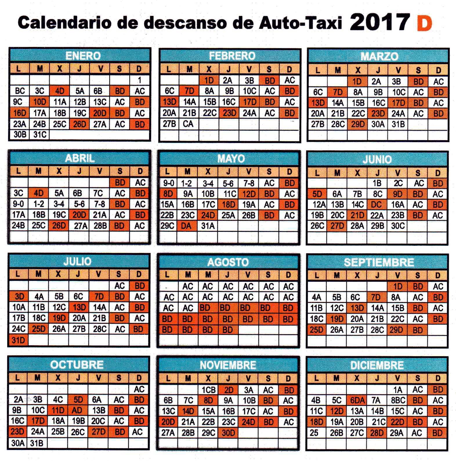 CALENDARIO 2017 LETRA D