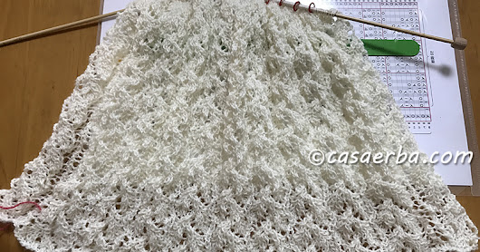 Knit Lace Stole WIP -Drooping Elm Leaf Stitch