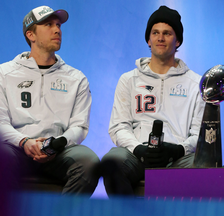Quarterbacks Nick Foles and Tom Brady